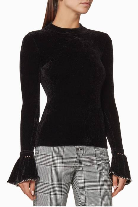 Black Velvet Turtle-Neck Sweater