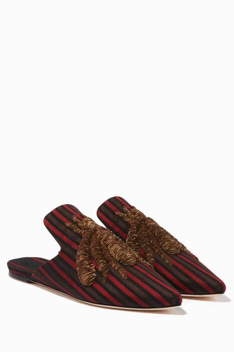 Dark-Red Ragno Striped Slippers