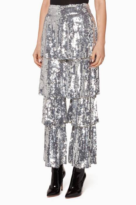 Silver Sequin Embellished Tiered Felix Pants