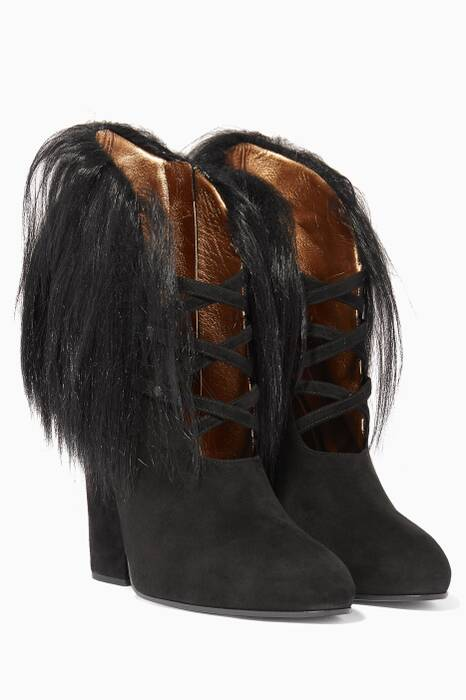 Nero Kid Suede Ankle Boots