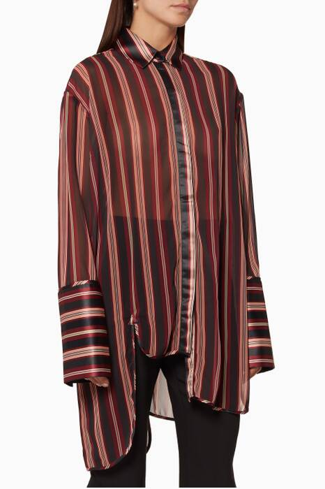 Burgundy Striped Folly Dapper Asymmetric Shirt