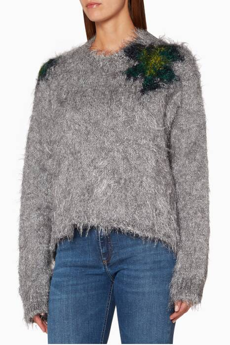 Grey Fhira Hairy Knit Sweater