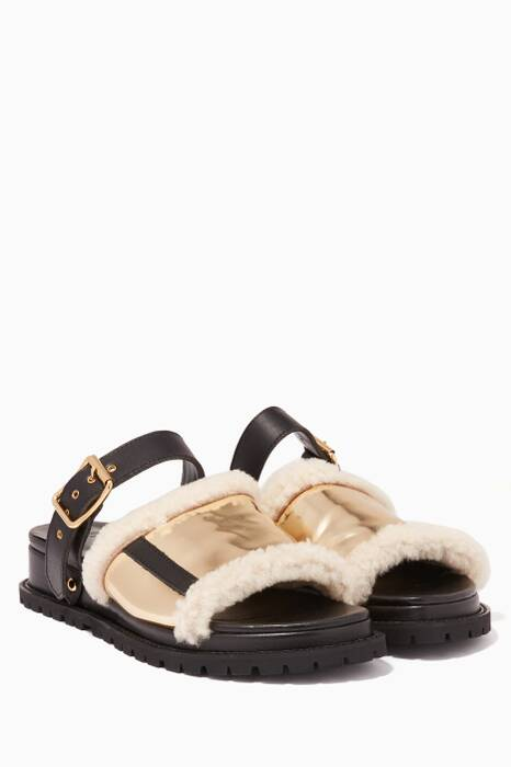 Metallic-Gold Shearling Chunky Sandals
