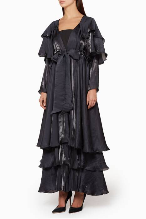 Navy Airflow Layered Abaya