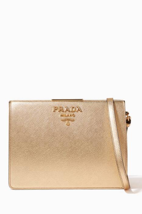 Gold Small Saffiano Frame Shoulder Bag