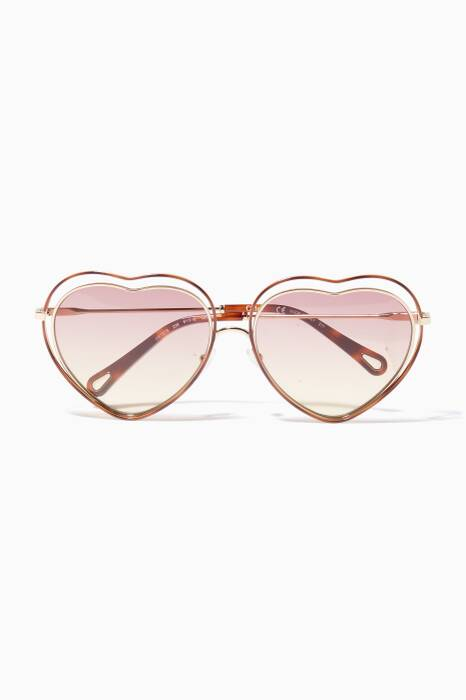 Gold & Pink Poppy Heart Frame Sunglasses