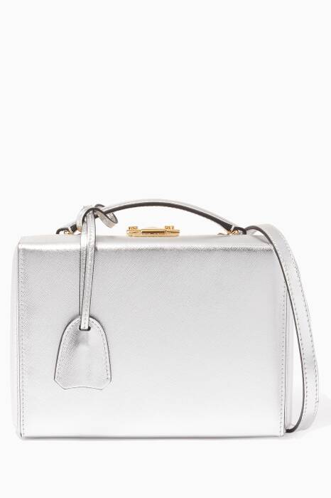 Silver Small Grace Saffiano Leather Box Bag