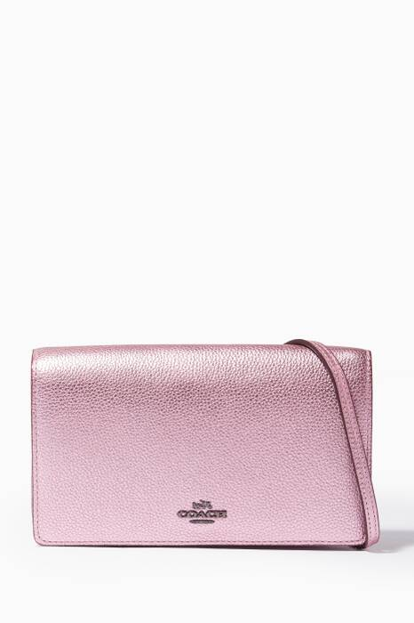 Pink Fold-Over Cross-Body Clutch