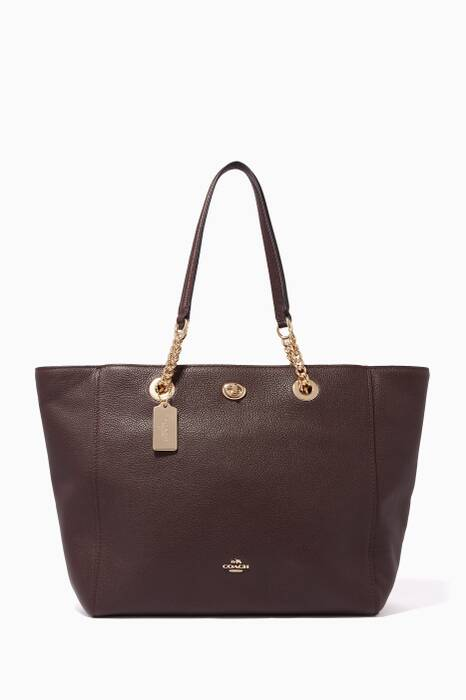 Burgundy Turnlock Chain Tote Bag