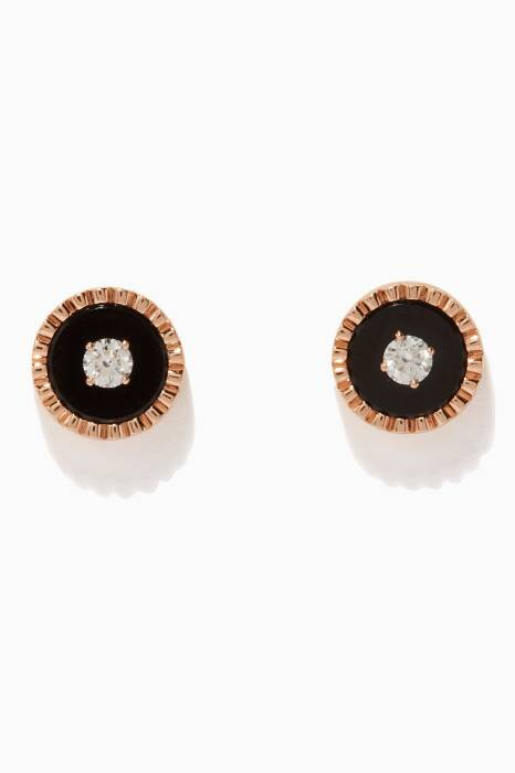 Rose-Gold, Diamond and Onyx Coco Earrings