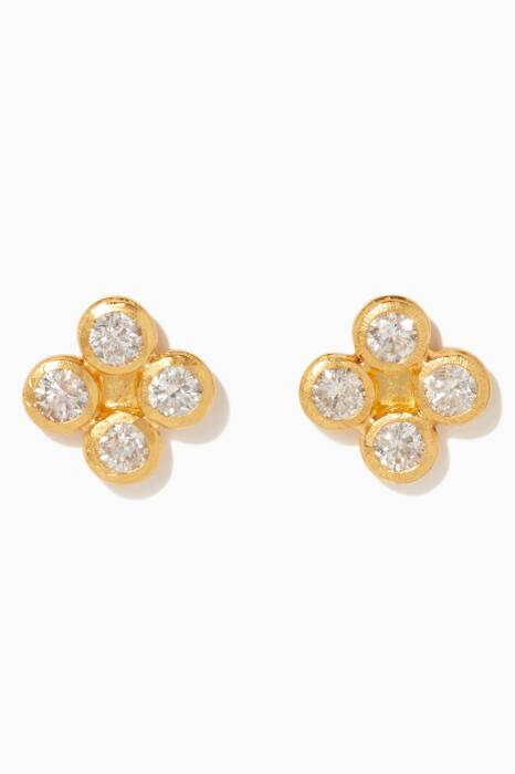 Gold Small Delicate Diamond Button Earrings