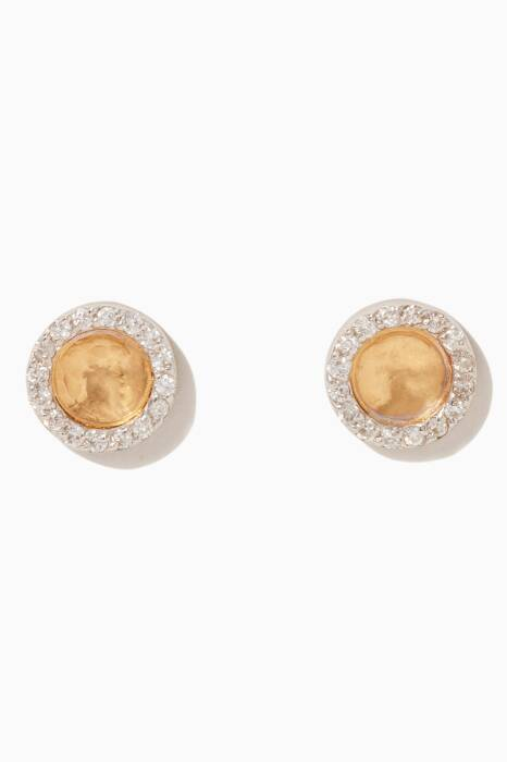 Gold & White-Gold Hourglass Diamond Button Earrings