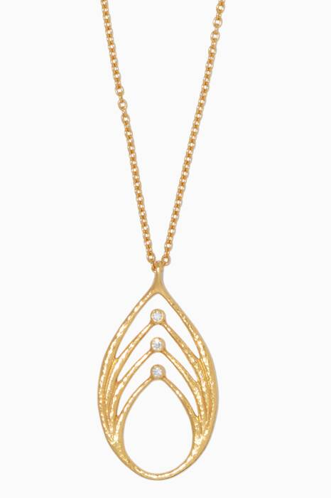 Yellow-Gold & Delicate Geo Diamond Pendant Necklace