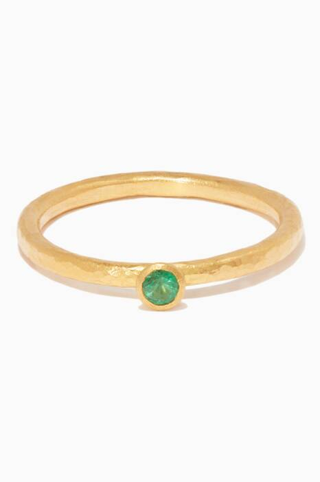 Yellow-Gold & Emerald Delicate Skittle Stacking Ring