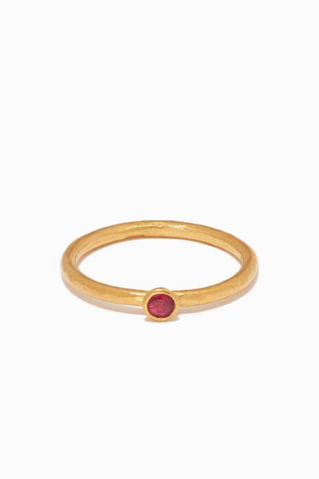 Yellow-Gold & Ruby Delicate Skittle Stacking Ring