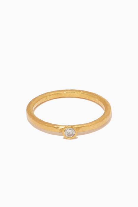 Yellow-Gold & Diamond Delicate Skittle Stacking Ring