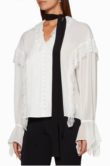 Ivory Lace Ruffle Contrast Blouse
