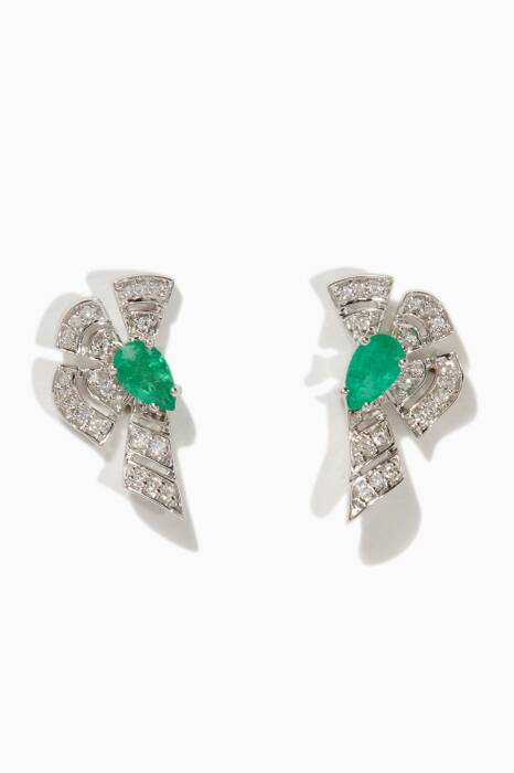 White-Gold, Diamond & Emerald Labyrinth Earrings