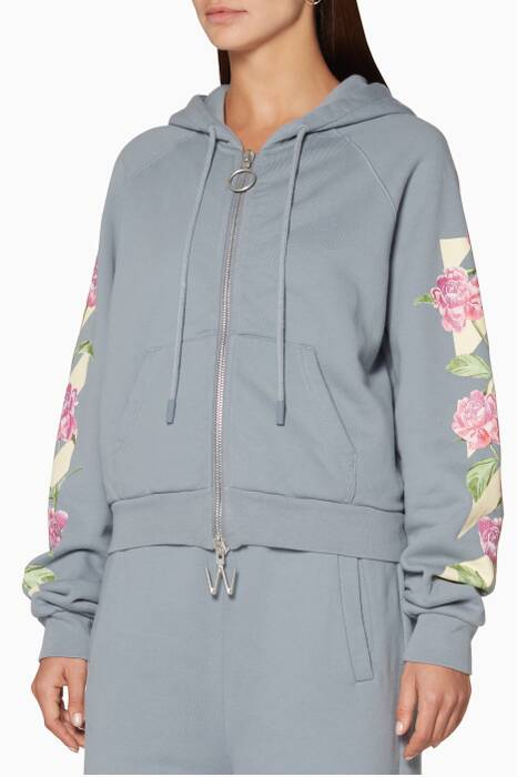 Dove-Grey Diag Cherry Cropped Hooded Sweatshirt