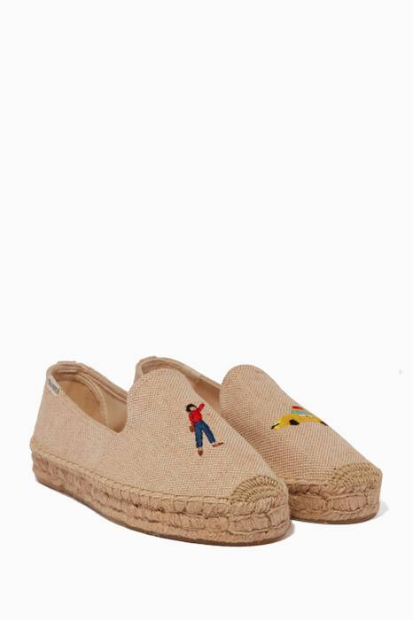 Beige NYC Taxi Espadrille Smoking Slippers
