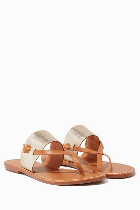 Metallic Slotted Leather Thong Sandals