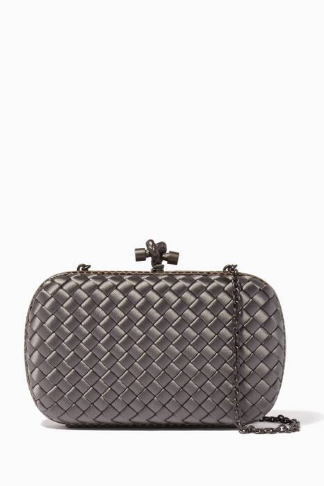 Light-Grey Ayers Satin Chain Knot Clutch