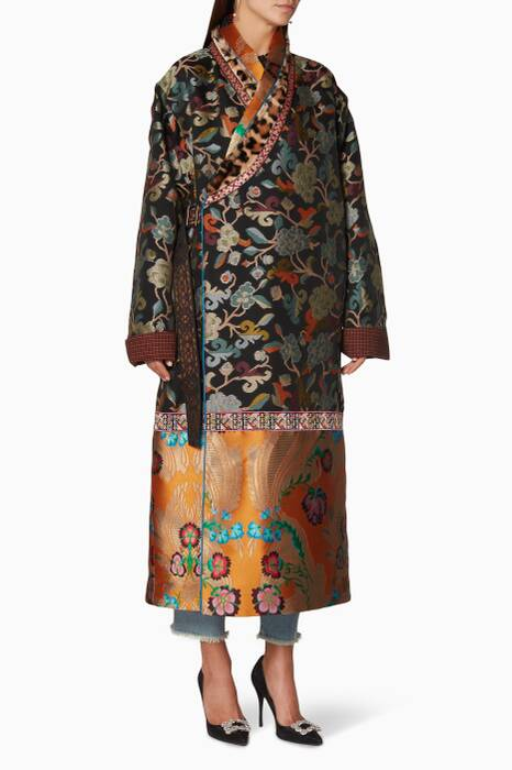 Multi-Coloured Jacquard Fur Coat