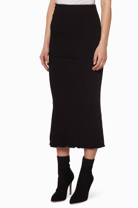Black Tall T Overlay Ribbed Skirt