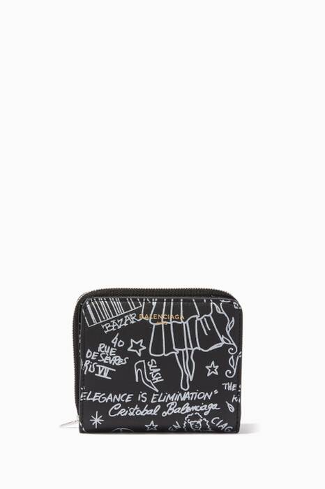 Black Graffiti Zip-Around Wallet