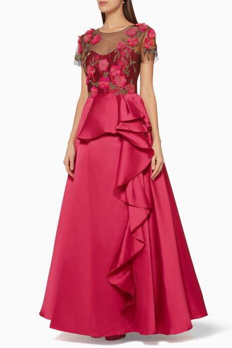 Pink Floral-Embroidered Ruffled Gown