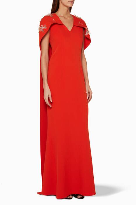 Red Orbit Caped Tail Long Dress