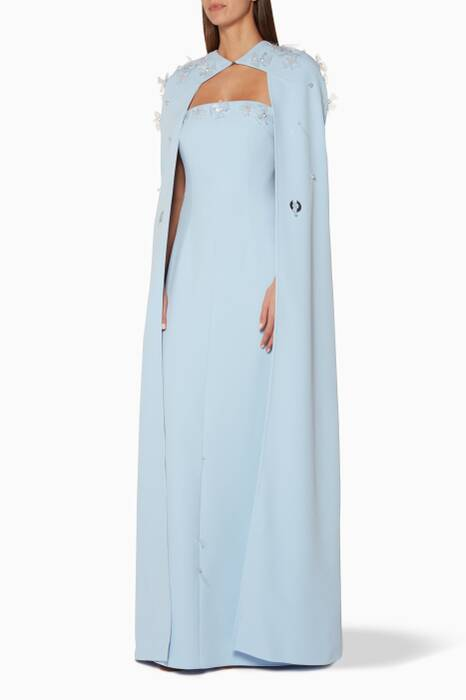 Light-Blue Amitola Embellished Cape Gown