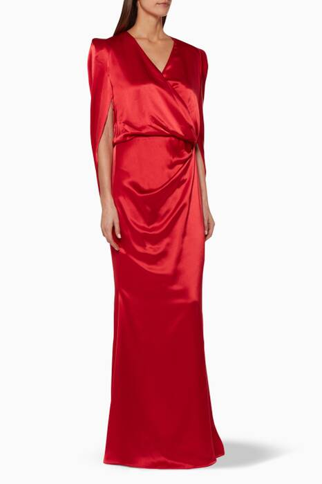 Red Draped-Back Gown