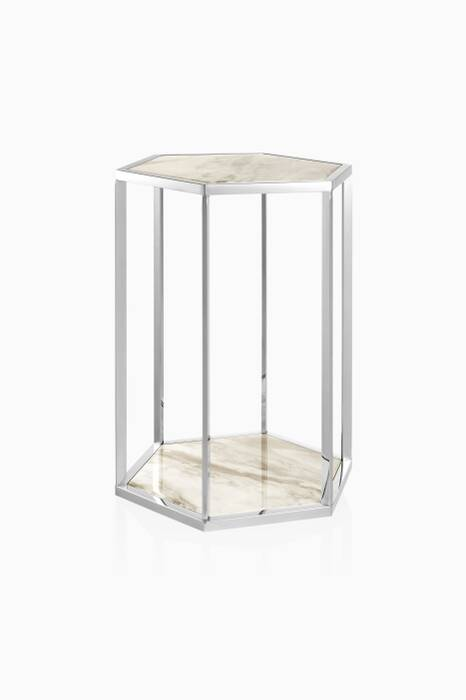 White Marble Taro Side Table Set Of 2