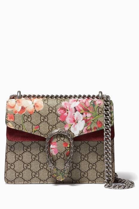 Beige Mini Dionysis GG Blooms Shoulder Bag