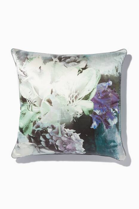 Teal Dark Flower Printed Cushion