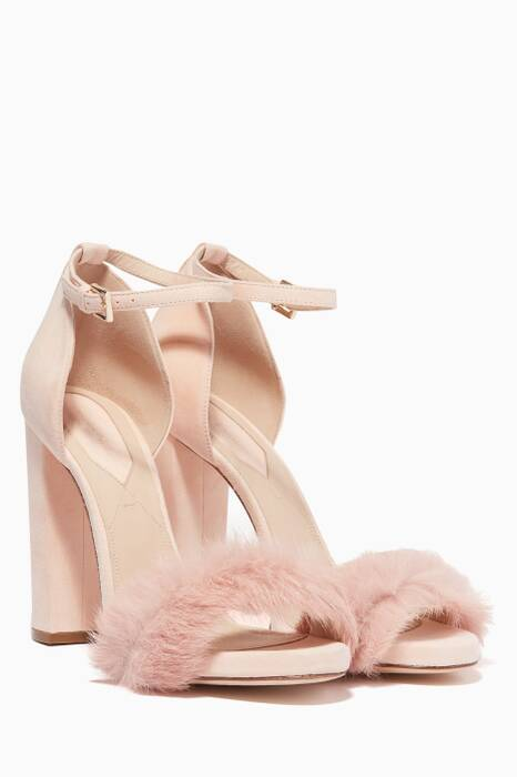 Light-Beige Suede Fur Sandals