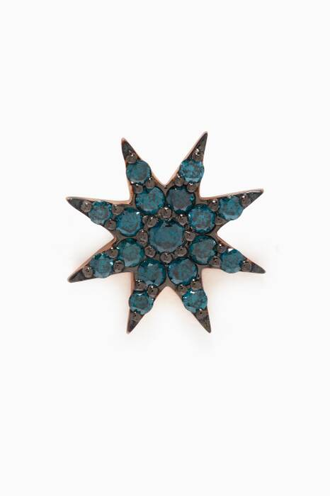 Rose-Gold Venus Star Blue Diamond Earring