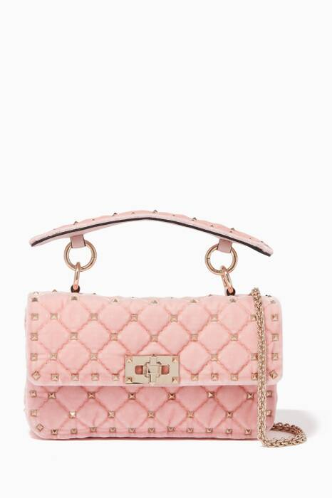 Light-Pink Velvet Rockstud Spike Shoulder Bag