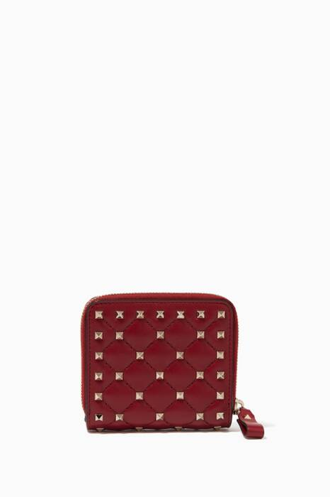 Rubin-Red Rockstud Spike French Wallet