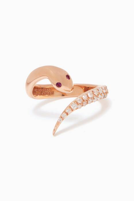 Rose-Gold & Diamond Serpent Midi Ring