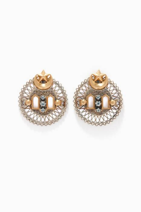 Silver & Gold Falahy Window Earrings