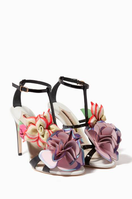 Black Jumbo Lilico Patent Flower Sandals