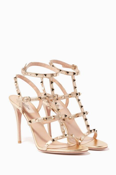 Gold Metallic Rockstud Leather High-Heel Sandals