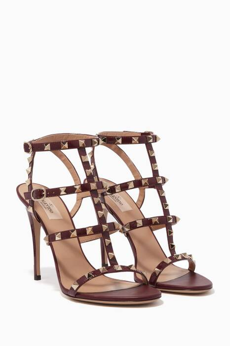 Burgundy Rockstud Leather Sandals