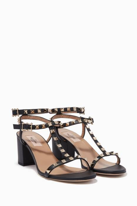 Black Rockstud Leather Sandals