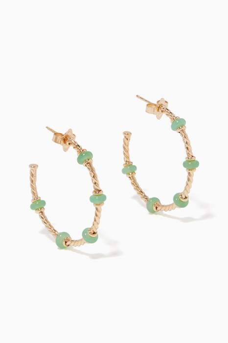 Yellow-Gold & Chrysoprase Rondelle Hoop Earrings