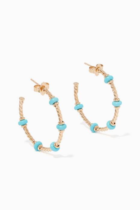 Yellow-Gold & Turquoise Rondelle Hoop Earrings