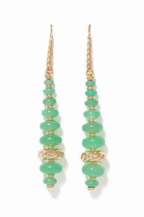 Yellow-Gold & Chrysoprase Rondelle Drop Earrings