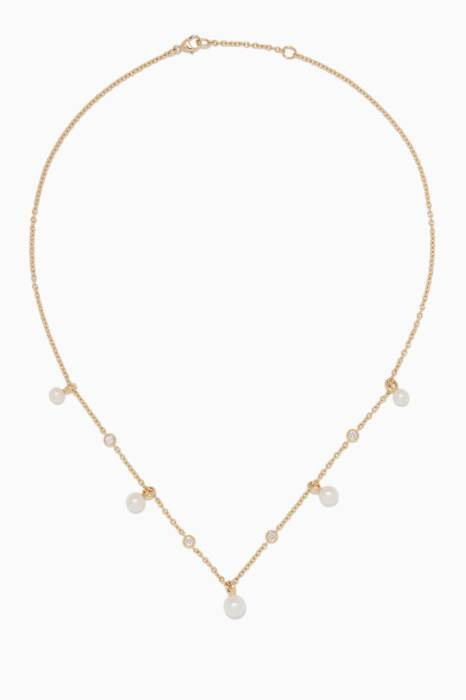 Yellow-Gold & Pearl Petite Perle Fringe Necklace